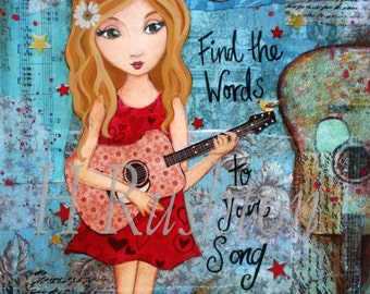 Music Art -Tween Decor- Country Music Decor- Canvas Art -  Any Size Print on Canvas You Pick