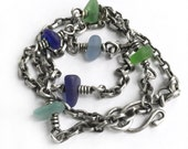 Colorful Seaglass Beach Glass Sterling Silver Necklace Oxidized Vintage Chain Blue Green Aqua 19 Inch