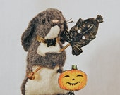 Felted Wool Bunny Pincushion on a Cut Velvet Tuffet