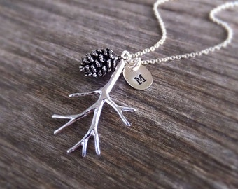 Silver Pinecone Branch Jewelry Necklace - Custom Personalized Letter - Silver Evergreen Branch Charm - Gift for Her - Christmas Gift Guide