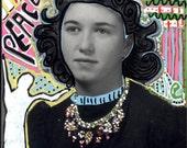 vintage photo original Acrylic Mixed Media Altered Photo Peace Love Girl w Angel Mystic