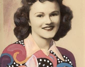 vintage photo original Goauche Mixed Media Altered Photo Geometric Shirt Young Lady