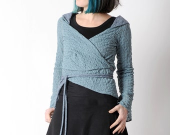 Blue lace wrap, Grey-blue shrug, Womens clothing, Stretchy lace wrap, Blue womens cardigan