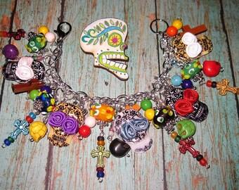 Day of The Dead Charm Bracelet Sugar Skull Bracelet Day of the Dead Jewelry Dia De Los Muertos Mexican Sugar Skull Bracelet Gothic OOAK