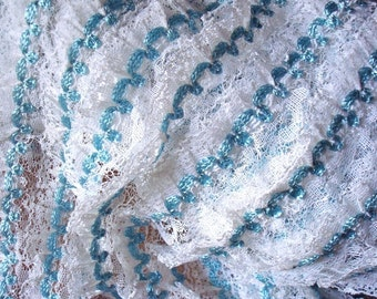 Vintage White and Blue Lace Ruffled Fabric Yardage for Crafts Sewing Dolls, Costume, Dance