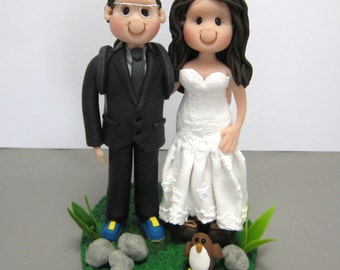 DEPOSIT for a Customized Hiking Outdoors Wedding Cake Topper polymer clay