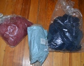 Destash Lot of Three Wool and Wool Blend Fiber Roving Colored for Spinning