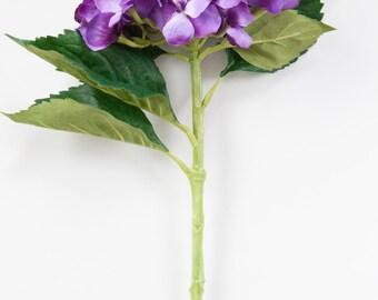 Purple Hydrangea Head on 19 Inch Stem - Silk Artificial Flowers - ITEM 0927