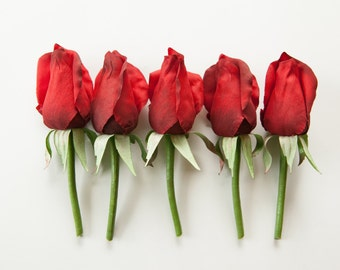 ONE Budded Rose Pick in Red - Corsage or Boutonniere Supply - Artificial Silk Flowers - ITEM 0388
