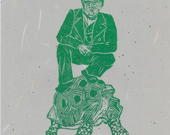 Darwin on Galapagos - 2nd Edition Lino Block Print Scientist Portrait, Charles Darwin, Galapagos Tortoise, History of Science, Evolution