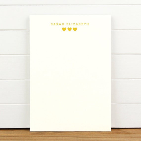 SUGAR Personalized Notepad - Heart Cute New Baby Girl Child Custom Letterhead