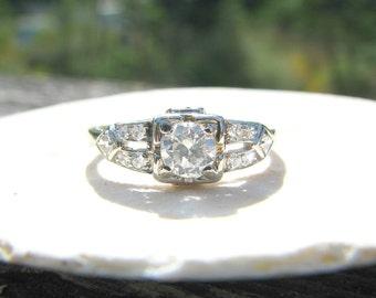 1930's Art Deco Diamond Engagement Ring, Fiery European Cut Diamond, Elegant Platinum Design, Fine Traub Orange Blossom Ring, Sweet Old Box