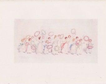 Vintage Kate Greenaway Book Plate Art Print - Flower Children Parade