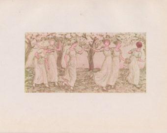 Vintage Kate Greenaway Book Plate Art Print - The May Dance