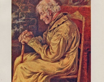 Vintage Kate Greenaway Book Plate Art Print - Dadad - Old Man, Grandfather, Father
