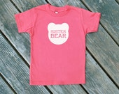 Sister Bear Pomegranate Coral Red Organic Cotton TShirt with White Print