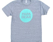 Papa Bear TriBlend Heather Grey TShirt with Aqua Blue Print - Family Photos, Gift for Dad, Father's Day, New Dad, Expecting, Announcement