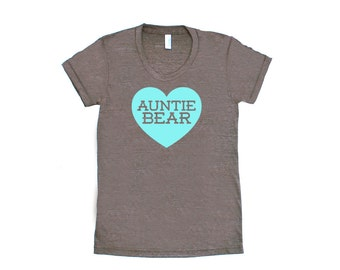 Auntie Bear with Heart TriBlend Heather Brown with Aqua Blue TShirt - Family Photos, Gift for Her, Announcement, Expecting, New Aunt