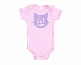 Little Cat Lady Cotton One Piece in Pink with Lavender Purple print - Newborn, Baby Shower Gift, Cat Baby, Infant, Cat Lover, Cat People