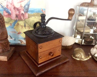 Vintage Coffee Mill, LARGE Antique Style Manual Coffee Grinder w/ Cast Iron Top, Wood Base & Drawer. Farmhouse Kitchen Decor. Functional!