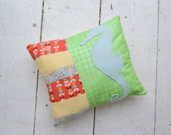 Seahorse Applique and Patchwork Pillow