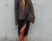 oversized brown sweater, slouchy, pullover, extra long sleeve, alpaca