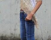 Poncho, cream loose knit poncho, ombra, Wedding,  ribbon summer poncho, shawl