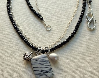 Two Strand Black Onyx Silver Chain Cluster Pendant Necklace, Large Stone Pendant, Artisan Jewelry, Carrie Whelan Designs