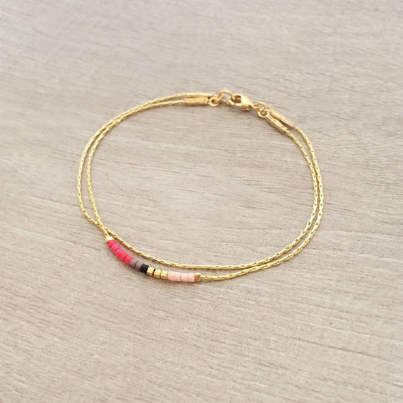 Delicate Bracelet with Tiny Beads // Thin Colorful Gold Bracelet ...