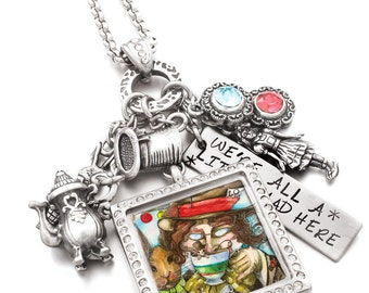 Mad Hatter, Crystal Locket, Charm Pendant, Locket Necklace, Madhatter Jewelry, Alice in Wonderland, Fairy tale Jewelry
