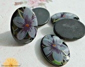 Six 18x13mm Vintage Plastic Cabochons with Flower (24-15B-6)