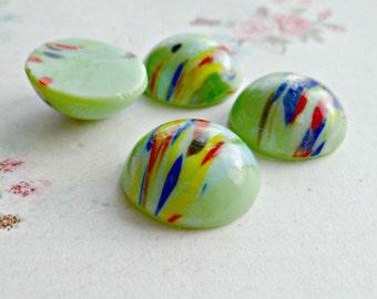 Four Jadeite Green 18mm Round Vintage Glass Cabochons (24-12F-4)