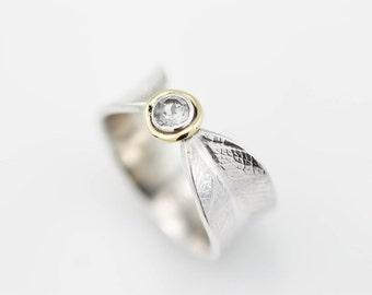 Stone Set Bodhi Leaf Ring, wedding ring, wedding band, silver ring, silver and gold, 18k gold, white topaz, topaz ring