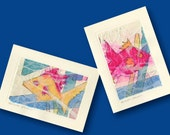 Abstract Fishies -  Set of 2 Beautiful Original Hand Made Hand Painted Abstract Fish Blank Greeting Cards by Kathy Morton Stanion EBSQ