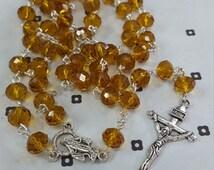 Yellow Catholic Handmade Rosary