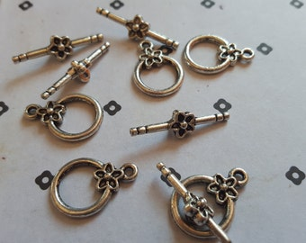 Silver plated toggle clasps (5 set)