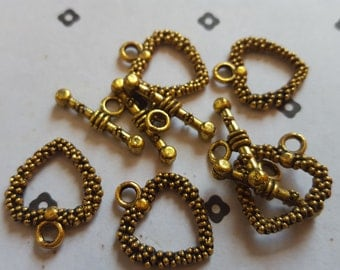 Gold plated heart toggle clasps (5 set)