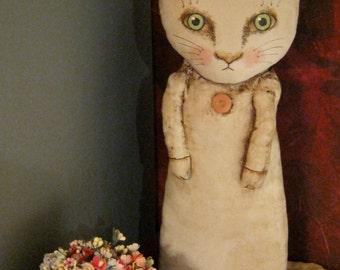 ooak cat art doll,  original doll, wall art doll , shelf art , cottage chic cat , shabby chic cat
