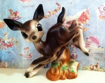 Vintage Antique Spotted Deer Galloping Figurine Collectible or Cake Topper