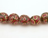 Animal Print Set of Handmade Artisan Polymer Clay Beads in Fall Colors