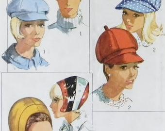 Simplicity Pattern 6702, Set of 6 Hats, 1966, Factory Folds