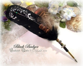 The BLACK BADGER Totem Feather Quill Pen CSD