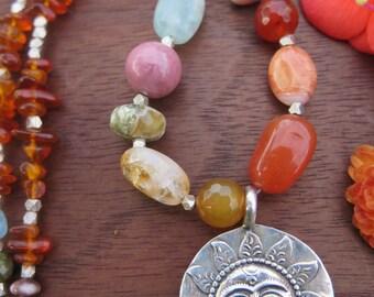 Rainbow Stone & Amber Sun Pendant Necklace - Sterling Silver - Sunshine Funky Crystal Bohemian Jewelry - Rich Luxury Chunky Gypsy Boho Chic