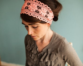 Lacework in Coral Summer Pink Garlands of Grace headwrap Headcovering head hair headband covering