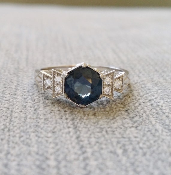 items similar to antique teal spinel engagement