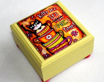 Cat Jewelry Box, Cat Art Small Wood Box, Whimsical Cat With Text, Teacup Art, Wooden Ring Box, Orange, Humorous