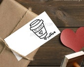 0408 JLMould Custom My Teacher Loves Coffee Custom Rubber Stamp Personalized Return Address Handled Stamper