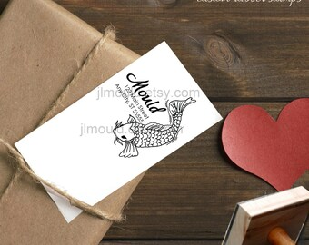 0077 JLMould Hand Drawn Koi Return Address Custom Personalized Rubber Stamps