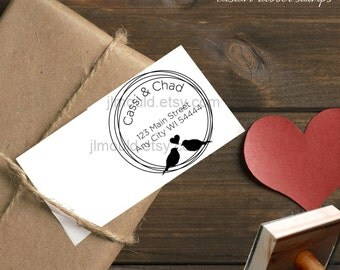 0044 NEW JLMould Modern Family Circle with Birds True Love Custom Personalized Rubber Stamp SaveTheDate Wedding Invitation