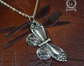 Spoon Butterfly Pendant - Inspired by Antique Victorian Silverware - Hand Cast Necklace - Doctorgus Handmade Jewelry - Cute Boho Style